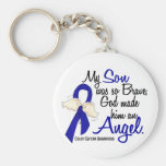 Angel 2 Son Colon Cancer Basic Round Button Key Ring