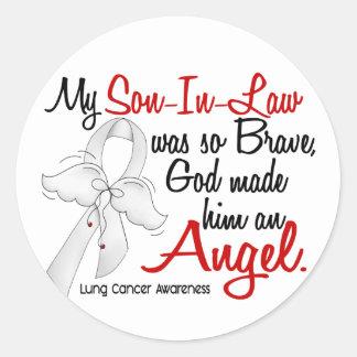 Angel 2 Son-In-Law Lung Cancer Round Sticker