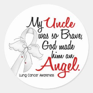Angel 2 Uncle Lung Cancer Round Sticker