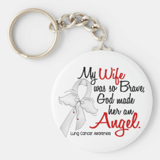 Angel 2 Wife Lung Cancer Basic Round Button Key Ring