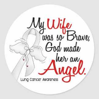 Angel 2 Wife Lung Cancer Classic Round Sticker