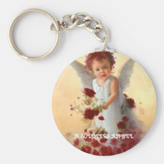 angel, A SOLDIERS ANGEL Basic Round Button Key Ring