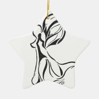Angel Abstract Drawing Black Ink on White Back Ceramic Star Decoration
