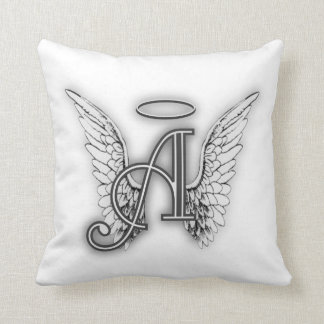 Angel Alphabet A Initial Latter Wings Halo Cushion