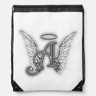 Angel Alphabet A Initial Latter Wings Halo Drawstring Bag