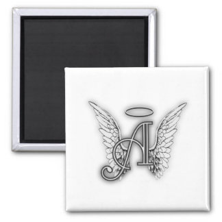 Angel Alphabet A Initial Latter Wings Halo Square Magnet