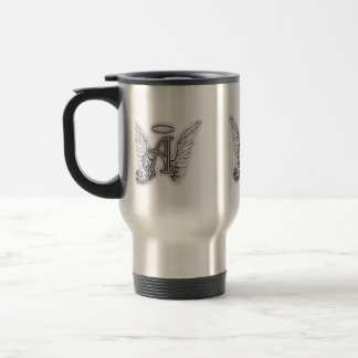 Angel Alphabet A Initial Latter Wings Halo Travel Mug