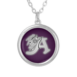Angel Alphabet A Initial Monogram Silver Plated Necklace