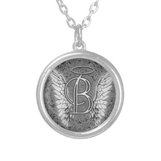 Angel Alphabet B Initial Latter Wings Halo Silver Plated Necklace