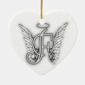 Angel Alphabet F Initial Latter Wings Halo Ceramic Heart Decoration