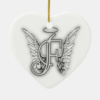 Angel Alphabet F Initial Latter Wings Halo Christmas Ornament