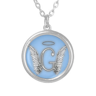 Angel Alphabet G Initial Latter Wings Halo Silver Plated Necklace