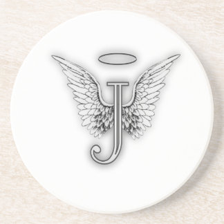 Angel Alphabet J Initial Letter Wings Halo Coaster