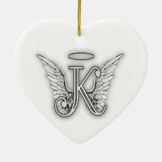 Angel Alphabet K Initial Letter Wings Halo Christmas Ornament