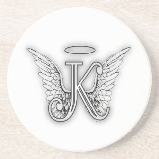 Angel Alphabet K Initial Letter Wings Halo Coaster