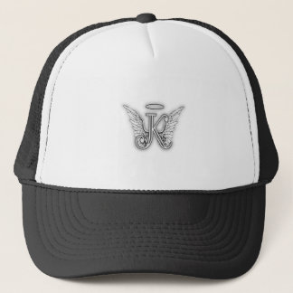 Angel Alphabet K Initial Letter Wings Halo Trucker Hat