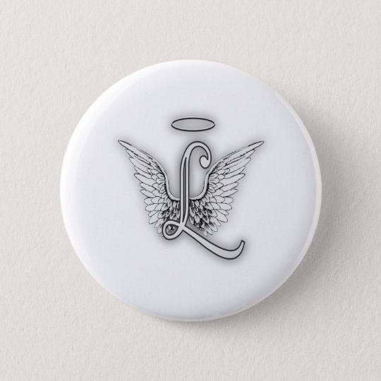 Angel Alphabet L Initial Letter Wings Halo 6 Cm Round Badge