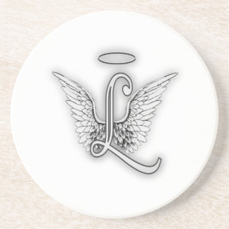 Angel Alphabet L Initial Letter Wings Halo Coaster