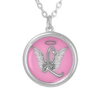 Angel Alphabet L Initial Letter Wings Halo Silver Plated Necklace