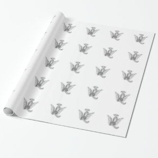 Angel Alphabet L Initial Letter Wings Halo Wrapping Paper