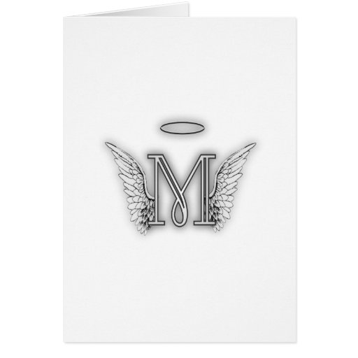 Angel Alphabet M Initial Letter Wings Halo Card