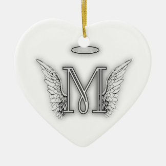 Angel Alphabet M Initial Letter Wings Halo Christmas Ornament