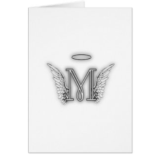 Angel Alphabet M Initial Letter Wings Halo Greeting Card