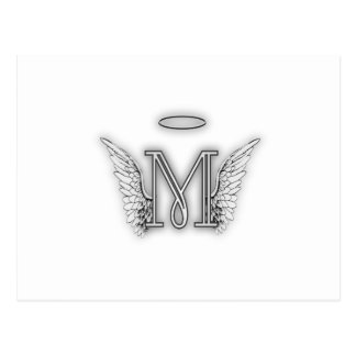 Angel Alphabet M Initial Letter Wings Halo Postcard
