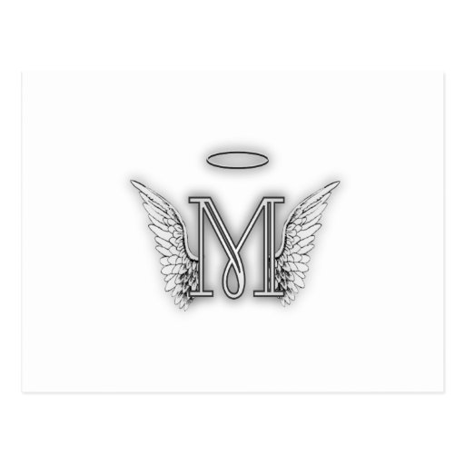 Angel Alphabet M Initial Letter Wings Halo Postcards