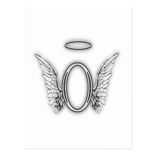 'Angel Alphabet O Initial Letter Wings Halo Postcard