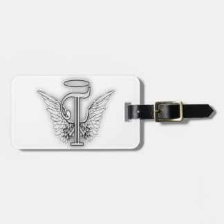 Angel Alphabet T Initial Letter Wings Halo Luggage Tag