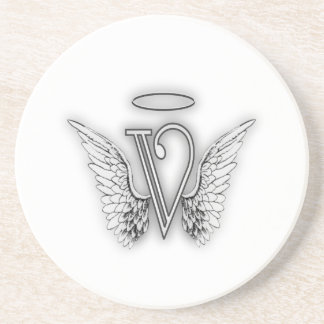 Angel Alphabet V Initial Letter Wings Halo Coaster