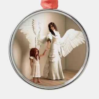Angel and a kid christmas ornament