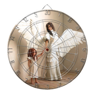 Angel and a kid dartboard with darts