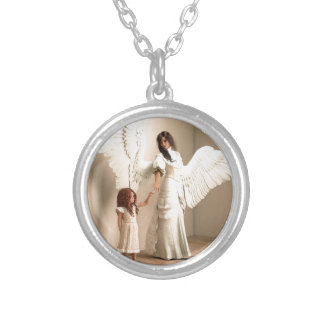 Angel and a kid silver plated necklace