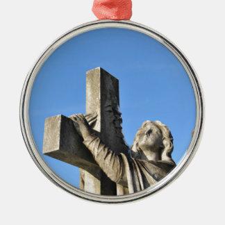 Angel and cross christmas ornament