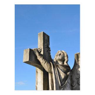 Angel and cross postcard
