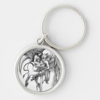 Angel and demon key ring