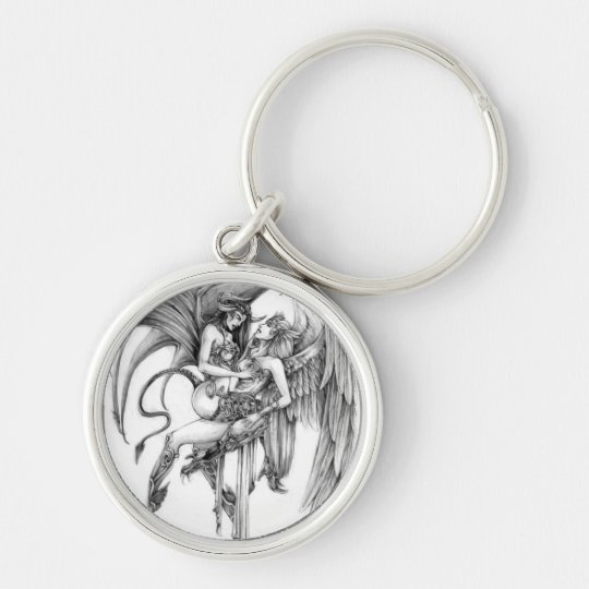 Angel and demon Silver-Colored round key ring