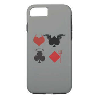 Angel and Devil Card Suits Dark Gray iPhone 7 Case