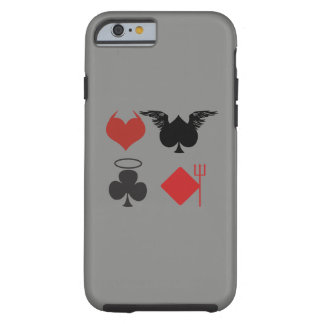 Angel and Devil Card Suits Dark Gray Tough iPhone 6 Case