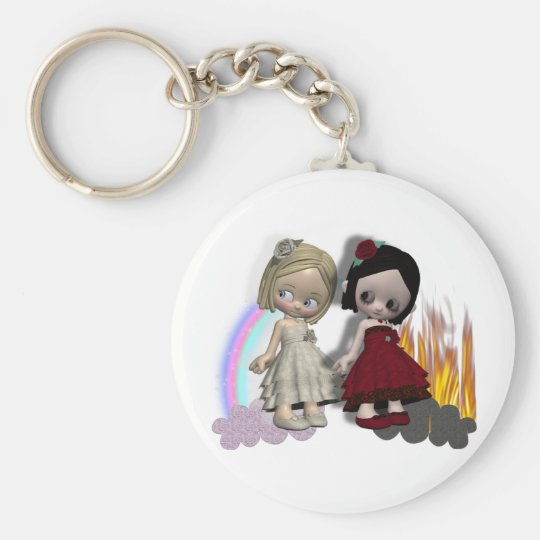 angel and devil cutie girls basic round button key ring