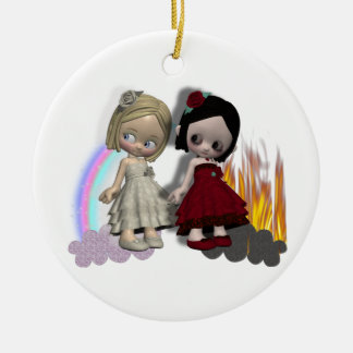 angel and devil cutie girls christmas ornament