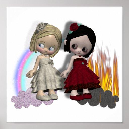 angel and devil cutie girls print