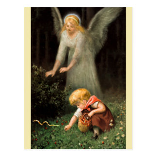Angel and girl in the forest postcard