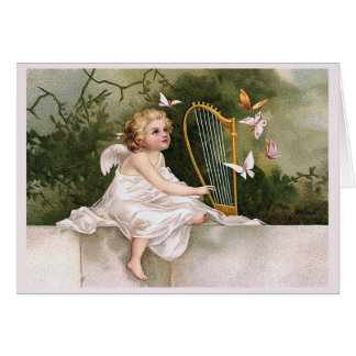 Angel and Harp Vintage Illustration Card