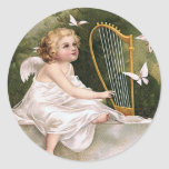 Angel and Harp Vintage Illustration Classic Round Sticker