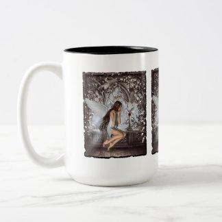 Angel and Her Dove Two-Tone Coffee Mug