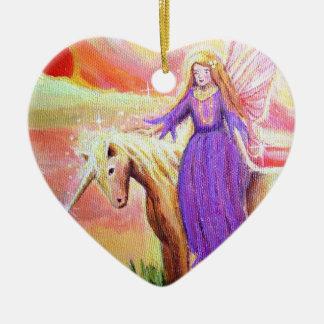 Angel and Unicorn Art Ornament