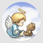 Angel baby and teddy bear round sticker